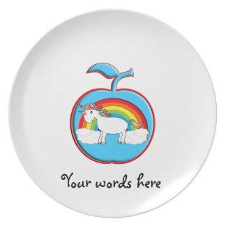 Unicorn on rainbow in apple plates