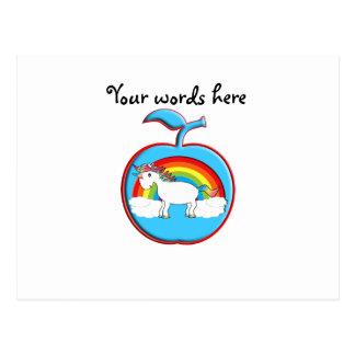 Unicorn on rainbow in apple post card