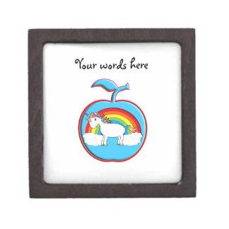 Unicorn on rainbow in apple premium keepsake box