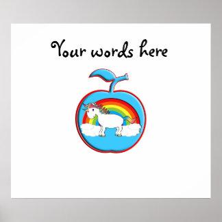 Unicorn on rainbow in apple print