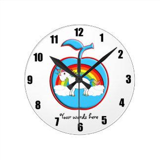 Unicorn on rainbow in apple round clocks