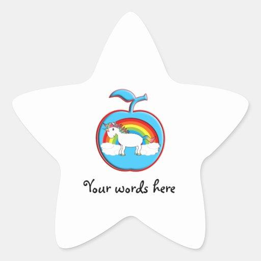 Unicorn on rainbow in apple stickers