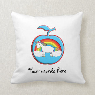 Unicorn on rainbow in apple throw pillow