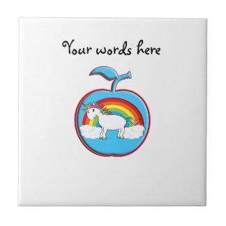 Unicorn on rainbow in apple tile
