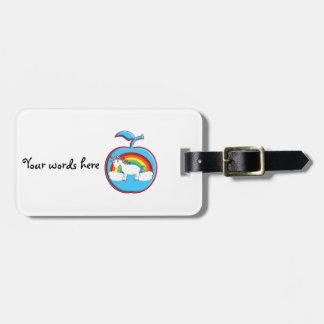 Unicorn on rainbow in apple travel bag tag