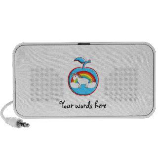 Unicorn on rainbow in apple travelling speaker