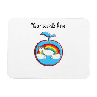 Unicorn on rainbow in apple vinyl magnet