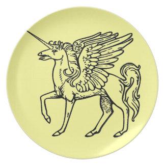 Unicorn or Pegasus  Unicórnio ou pégaso Einhorn od Melamine Plate