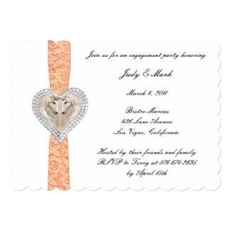 Unicorn Orange Lace Engagement Party Invitation