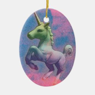 Unicorn Ornament - Oval (Cupcake Pink)