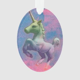 Unicorn Ornament - Oval Ribbon (Cupcake Pink)