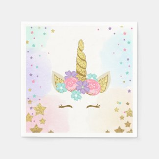 Unicorn Paper Napkin Pink Gold Magical Birthday