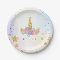 Unicorn Paper Plates Pink Gold Magical Birthday