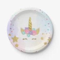 Unicorn Paper Plates Pink Gold Magical Birthday