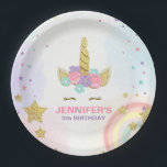 "Unicorn Paper Plates Pink Gold Magical Birthday<br><div class=""desc"">♥ A perfect addition to your party! Unicorn theme.</div>"