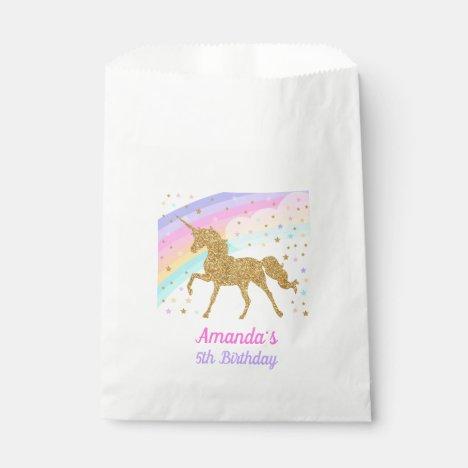 Unicorn Party Favor Bag, Pink & Gold Favor Bag