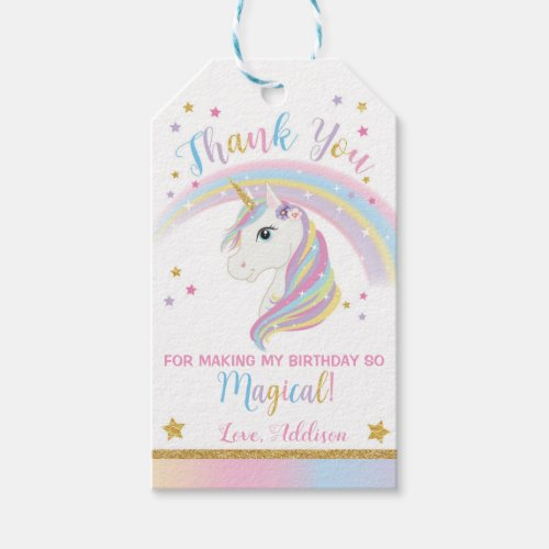 Unicorn Party Favor Tags Thank You
