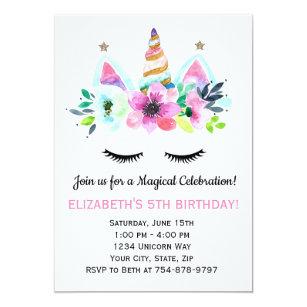 Unicorn 5th Birthday Invitations
