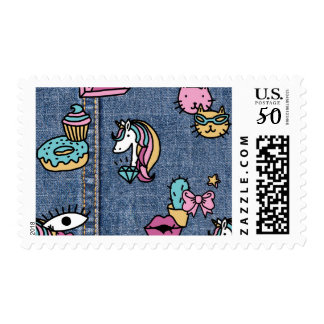 unicorn patches denim postage postal stamps