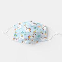 Unicorn Pattern, Cute Little Unicorns, Flowers Cloth Face Mask