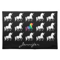 Unicorn Pattern Personalized Black White Rainbow Placemat