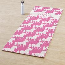Unicorn Pattern Personalized Pretty Pink Yoga Mat