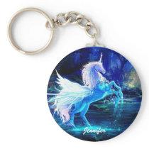 Unicorn Pegasus Keychain Add YOUR NAME