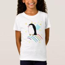 Unicorn Penguin Uniguin Flying Girls Shirt
