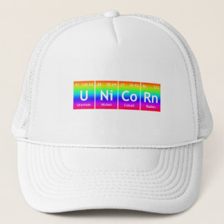 UNiCoRn Periodic Table Elements Word Rainbow Color Trucker Hat