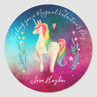 Unicorn Personalized Stickers - Valentine's Day