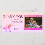 """Unicorn Personalized Thank you Photo<br><div class=""""desc"""">This design comes with a cute rainbow unicorn on a pink background with pink dots. Pink sleeping unicorn has a beautiful mane and tale. The text &quot; Thank you for your wonderful gift &quot; can be changed. Add your name and photo. The size, font and colour of the text are...</div>"""