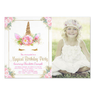 Unicorn Photo Birthday Party Invitations