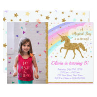 Unicorn Photo Invitation, Unicorn Party Invitation