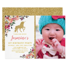 Unicorn Photo Pink Gold Glitter Birthday Party Invitation
