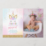"Unicorn Photo Thank You Card Pink Gold Unicorn<br><div class=""desc"">Magical Thank You Card 