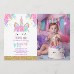 """Unicorn Photo Thank You Card Pink Gold Unicorn<br><div class=""""desc"""">Magical Thank You Card  The Glitter effect within this design is a digital image made to look like real glitter.  High quality and still gorgeous,  but no actual real glitter will be used in the making of this product.  All designs are &#169; PIXEL PERFECTION PARTY LTD</div>"""