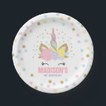 "Unicorn Pink And Gold Paper Plate 7&quot; Paper Plates<br><div class=""desc"">Themed Magical Unicorn Party Paper Plate! See our shop for matching items from our many Unicorn designs and collections. 