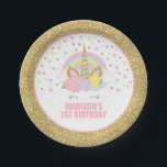 """Unicorn Pink And Gold Paper Plate 7&quot; Paper Plates<br><div class=""""desc"""">Pink And Gold Rainbow Unicorn 7&quot; Paper Plate. Add your own personalised text perfect to coordinating with items from the unicorn collection found in our store!</div>"""