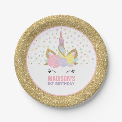 sc 1 st  Zazzle & Unicorn Pink And Gold Paper Plate 7\