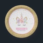 """Unicorn Pink And Gold Paper Plate 7&quot; Paper Plates<br><div class=""""desc"""">Unicorn Pink And Gold Paper Plate 7&quot; Paper Plates The Glitter effect within this design is a digital image made to look like real glitter. High quality and still gorgeous, but no actual real glitter will be used in the making of this product. All designs are &#169; PIXEL PERFECTION PARTY...</div>"""