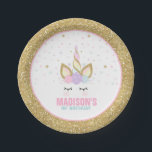 "Unicorn Pink And Gold Paper Plate 7&quot; Paper Plates<br><div class=""desc"">Unicorn Pink And Gold Paper Plate 7&quot; Paper Plates The Glitter effect within this design is a digital image made to look like real glitter. High quality and still gorgeous, but no actual real glitter will be used in the making of this product. All designs are &#169; PIXEL PERFECTION PARTY...</div>"