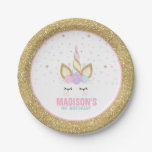 Unicorn Pink And Gold Paper Plate 7&quot; Paper Plates<br><div class='desc'>Unicorn Pink And Gold Paper Plate 7&quot; Paper Plates The Glitter effect within this design is a digital image made to look like real glitter. High quality and still gorgeous, but no actual real glitter will be used in the making of this product. All designs are &#169; PIXEL PERFECTION PARTY...</div>