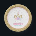 "Unicorn Pink And Gold Paper Plate 7"" Paper Plates<br><div class=""desc"">Unicorn Pink And Gold Paper Plate 7"" Paper Plates The Glitter effect within this design is a digital image made to look like real glitter. High quality and still gorgeous, but no actual real glitter will be used in the making of this product. All designs are © PIXEL PERFECTION PARTY...</div>"