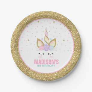 Unicorn Pink And Gold Paper Plate 7  Paper Plates  sc 1 st  Zazzle & Paper Plates | Zazzle