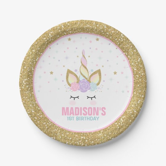Unicorn Pink And Gold Paper Plate 7  Paper Plates  sc 1 st  Zazzle & Unicorn Pink And Gold Paper Plate 7