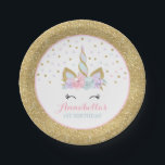 "Unicorn Pink And Gold Paper Plate 7&quot; Paper Plates<br><div class=""desc"">Pink And Gold Rainbow Unicorn 7&quot; Paper Plate. Add your own personalised text perfect to coordinating with items from the unicorn collection found in our store!</div>"