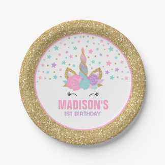 """Unicorn Pink And Gold Paper Plate 7"""" Paper Plates"""
