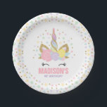 """Unicorn Pink And Gold Paper Plate 7&quot; Paper Plates<br><div class=""""desc"""">Themed Magical Unicorn Party Paper Plate! See our shop for matching items from our many Unicorn designs and collections.  Designed are &#169;PIXELPERFECTIONPARTYLTD</div>"""