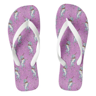 Unicorn Pink Faux Glitter Repeat Flip Flops