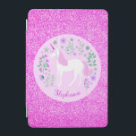 """Unicorn Pink Glitter Personalized Name iPad Mini Cover<br><div class=""""desc"""">This unicorn ipad cover features a cute unicorn and flowers design with faux pink glitter. Personalize it with a name.</div>"""
